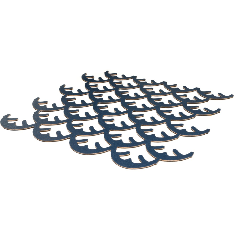 Muratto Pattern Tiles - Coral - Deep Indigo